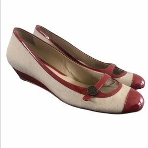 Cole Haan Nike Air Beige Red Mary Jane Wedge Heel